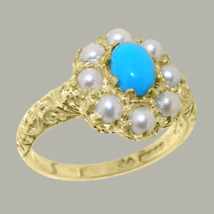 Solid-14ct-Yellow-Gold-Natural-Turquoise-amp-Pearl-Womens-Cluster-Ring