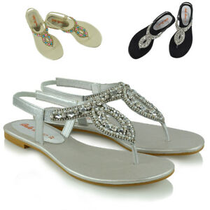 Womens-Flat-Slingback-Sandals-Diamante-Toe-Post-Ladies-Strappy-T-Bar-Shoes-Size