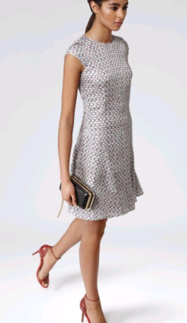 Designer REISS Skala dress size 6 --BRAND NEW-- chain print cap sleeve fit&flare
