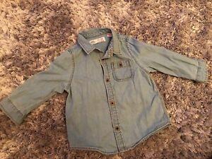Utile Zara 9-12 Mois Bleu Clair Denim Shirt-afficher Le Titre D'origine