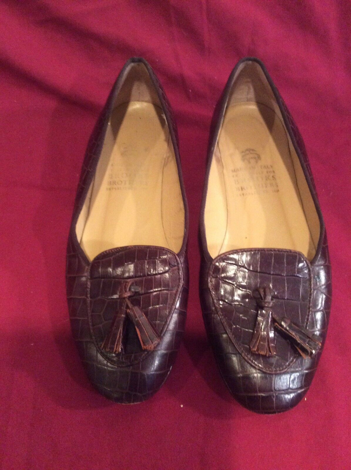 Women's Brooks Bredher Brown Leather Texture Slip-On Wing Tips Size 5.5 B