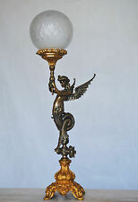 Empire Tischleuchter Alt Figur Tischlampe Leuchter ende 19.Jhd Bronze Table Lamp