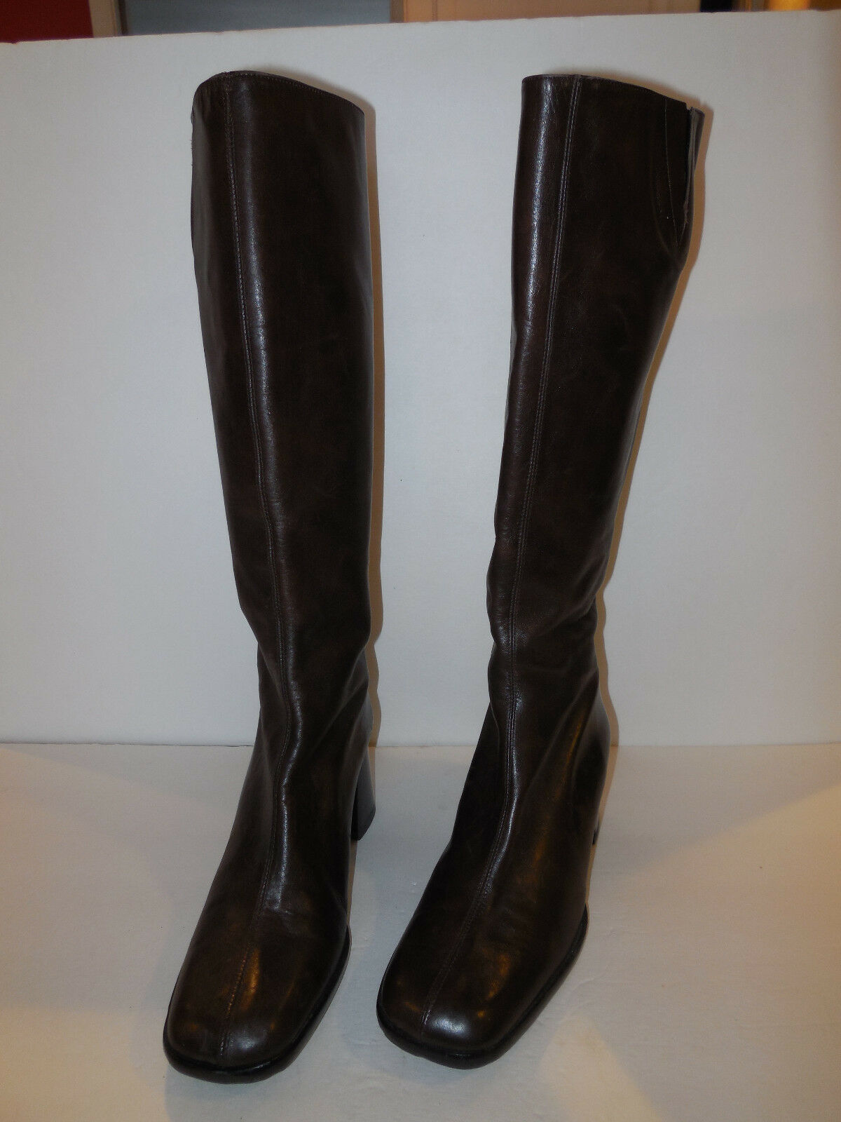 CLAUDIA CIUTI LADIES DARK BROWN LEATHER KNEE HIGH BOOTS SIZE 6.5 M MADE IN ITALY