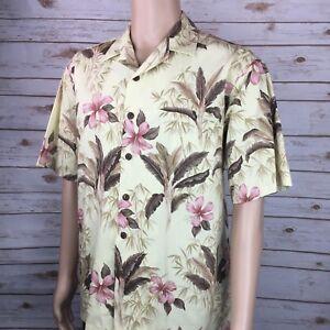Hilo-Hatties-Men-s-Hawaiian-Yellow-Floral-Shirt-Large-100-Cotton-Made-In-Hawaii