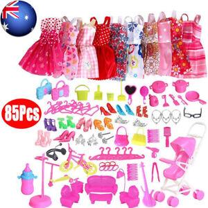 85Pcs Items For Barbie Dolls Dresses Shoes Jewellery Clothes Set Accessories AU