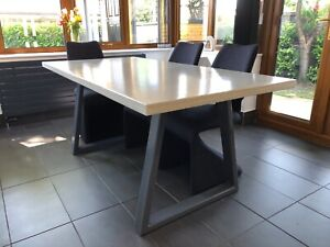 Handmade White Polished Concrete Dining, Concrete Dining Room Table