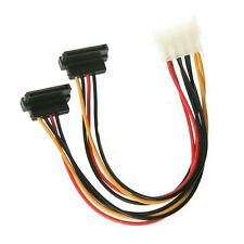 """6"""" Inch Molex to Dual 15-pin SATA Female 90° Right Angle Power Y Cable - Up Type"""
