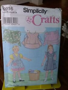 Oop-Simplicity-Crafts-8916-childs-retro-aprons-bibs-kitchen-craft-sz-3-8-NEW