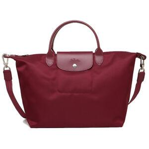 ab590b266b8 Used Longchamp Le Pliage Neo Medium Handbag Wine 1515578009 Auth | eBay