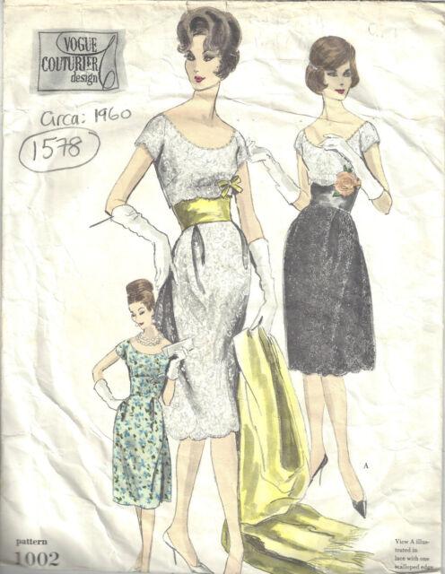 1969 Vintage Vogue Patron de Couture Robe B36 1505