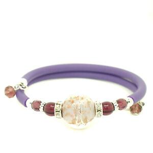 Murano-Glass-Bracelet-Purple-and-Bronze-Handmade-Bead-from-Venice