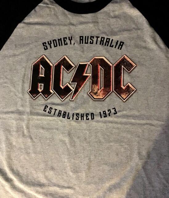 AC/DC cd lgo ESTABLISHED 1973 AUSTRALIA Official RAGLAN SHIRT XL new