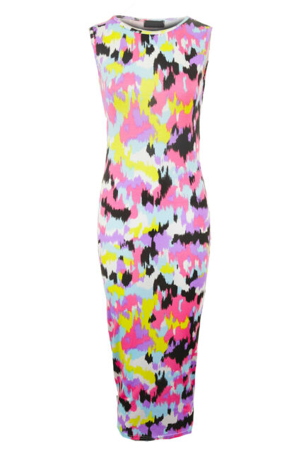 Ladies Celeb Aztec Floral Leopard Splash Summer Women's Midi Bodycon Dress