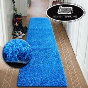 Moderne Hall Tapis D Entree Souple Poils Longs Shaggy 5cm Bleu