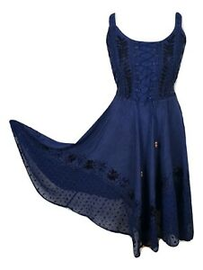 midi boho summer dress embroidered corset fit  flare navy