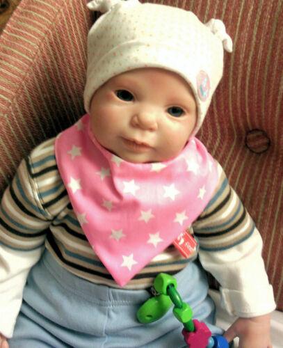 Baby-Halstuch  Kinderhalstuch Sabberschutz Sterne Baumwolle f/&f Mädchentuch rosa