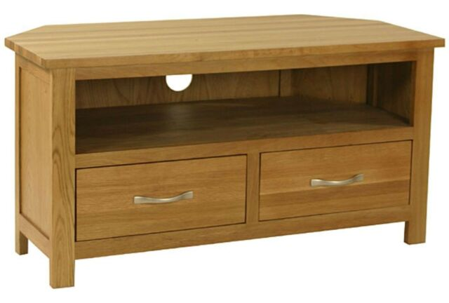 Carne Oak Corner TV Unit / Solid Oak Corner TV Stand / Handcrafted TV Cabinet