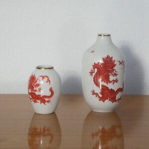 """2 kleine Vasen Porzellanvase PGH Dresden handbemalt Koralle """"DRACHE"""" 11.5 & 7 cm"""