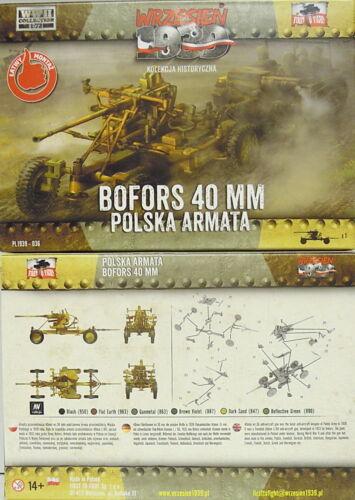 NEU, First To Fight 1//72 Plastikmodellbausatz 40 mm Flak Bofors Mod.1936