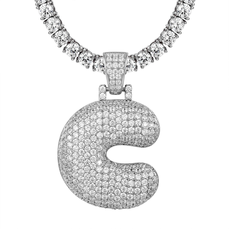 Initial Bubble Letter C Pendant Simulated Diamond Solitaire 1 Row Tennis Chain
