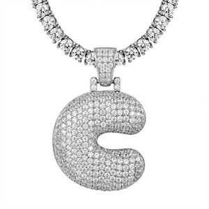 Initial bubble letter c pendant simulated diamond solitaire 1 row image is loading initial bubble letter c pendant simulated diamond solitaire aloadofball Choice Image