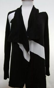 White-Black-Womens-Open-Front-LS-Cardigan-Sweater-Viscose-Blend-Size-M
