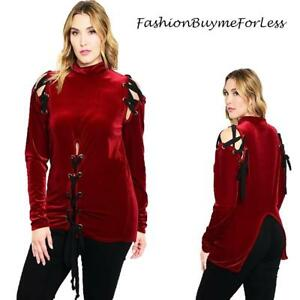 PLUS-Gothic-Red-Velvet-Renaissance-Medieval-Pirate-Lace-Up-Shirt-Top-1X-2X-3X