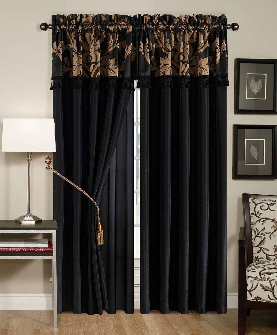 4 pc floral window curtain set bedroom drape valance panel