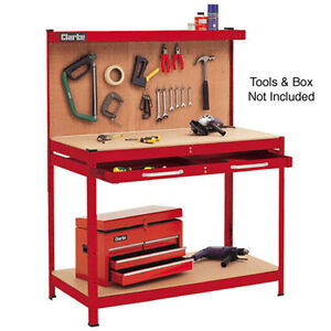 CLARKE-CWB-R1-Car-Workshop-Workbench-metal-drawer-ball-bearing-runners-Pegboard
