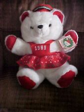 """1989 White Female Red Christmas KMart Bear With Tags KMart Co 20"""" Santa's Club"""
