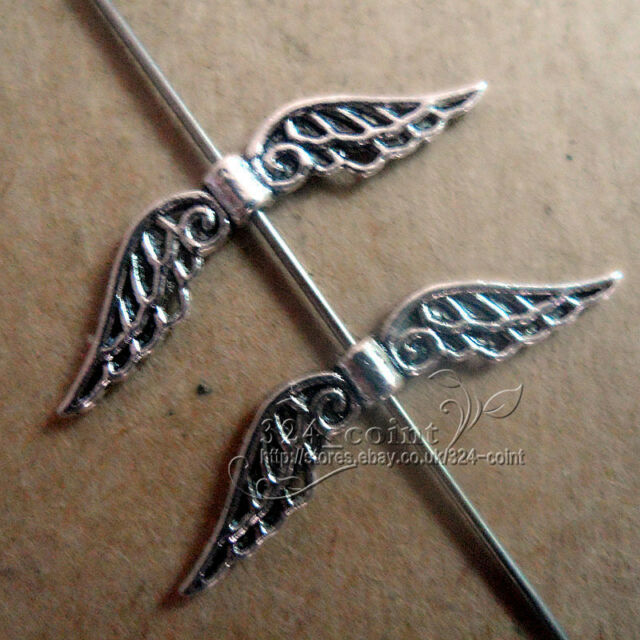 P162 20pcs Tibetan Silver Angel wings Spacer Beads retro Accessories Wholesale