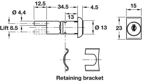 Ø 13 mm HAFELE Central locking rotary cylinders