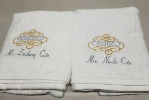 Details About Wedding Bride And Groom Towel Set Personalized Wedding Bridal Shower Gift