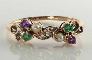 SUFFRAGETTE-9K-9CT-ROSE-GOLD-AMETHYST-EMERALD-PEARL-DIAMOND-ART-DECO-INS-RING