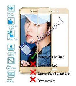 Protector-de-Pantalla-Cristal-Templado-Completo-para-Huawei-P8-Lite-2017-Dorado