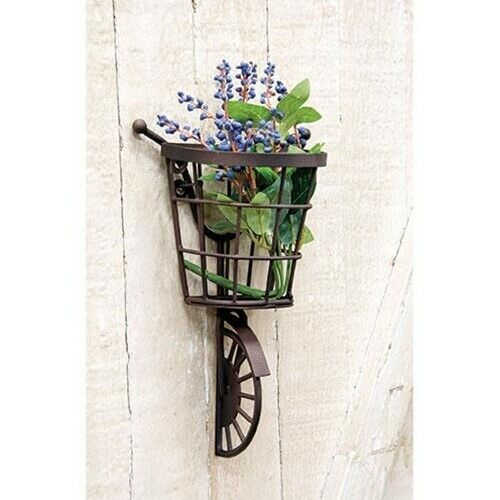 DISTRESSED PRIMITIVE METAL BICYCLE WALL HANGING w//BASKET FARMHOUSE SHABBY CHIC