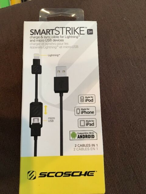 Scosche - smartSTRIKE 3ft 2-in-1 Charge-and-Sync Cable - Black