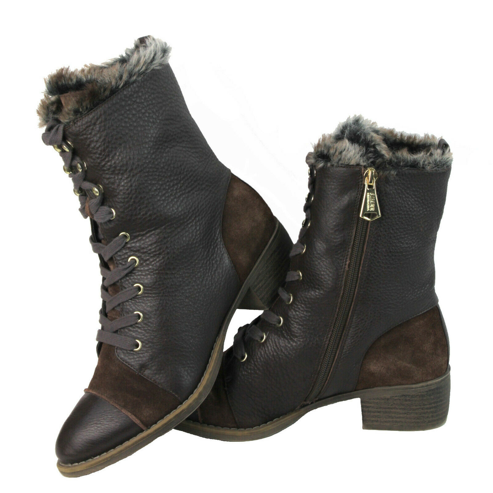 Aimee Kestenberg Leilani Lace Up Faux Fur Boot Chocolate Brown Leather Size 9 M