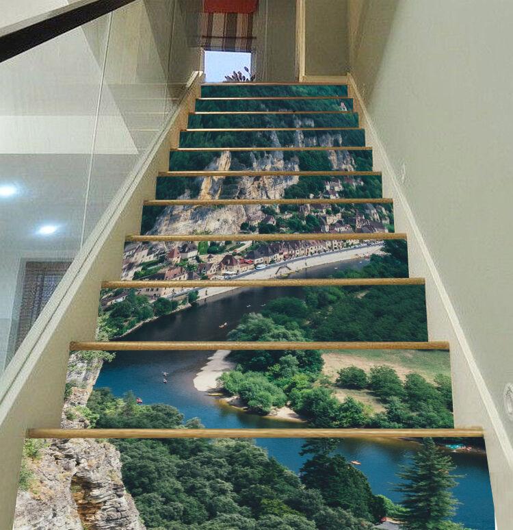 3D Baum Berg 474 Stair Risers Dekoration Fototapete Vinyl Aufkleber Tapete DE