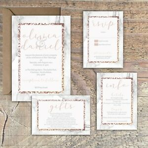 Personalised-ROSE-GOLD-amp-MARBLE-EFFECT-FRAME-wedding-invitations-packs-of-10