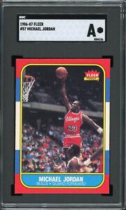 Michael Jordan 1986 Fleer Rookie Basketball CARD #57 SGC Authentic looks NM-MT