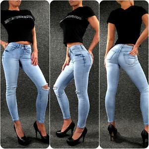 Ladies Stretch Jeans Zazou Skinny Cut Out Women's Xs S M L XL Summer 681