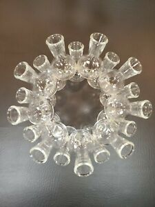 Vintage-Clear-Glass-18-Bud-Vase-Cluster-Flower-Frog-Floral-Arranger