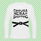 T-shirt donna manica lunga con stampa Cintura nera di shopping!