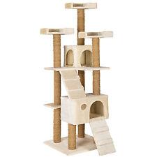 Arbre à chat griffoir grattoir jouet geant 2 grottes 169cm pour chats beige