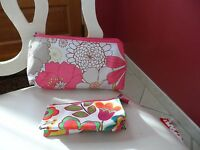 2 Beautiful Pink Floral Cosmetic Bags By Clinique