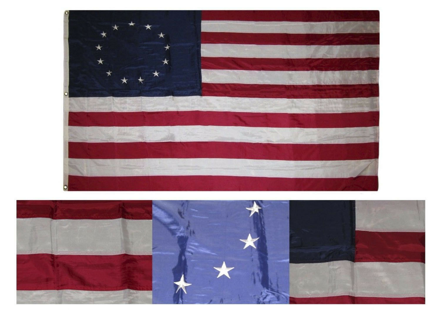 5x8 Embroiderot Sewn Betsy Ross Historical Nylon Flag 5'x8' Grommets