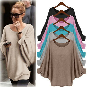 US-Womens-Batwing-Sleeve-Knitted-Sweater-Tops-Casual-Shirt-Loose-Blouse-Jumper