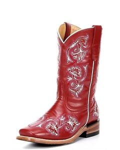 d18b737f6ce Details about CORRAL Little Kids & Youth Sizes Square Toe Leather Red White  Purple Boots G1095