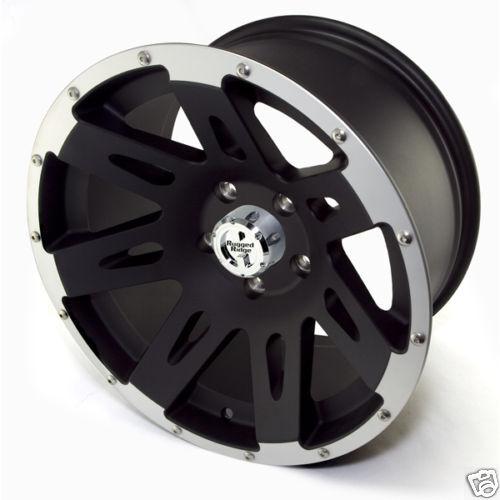 "17/"" Aluminum Wheel Black w// Lip for Jeep Wrangler JK 07-18 15301.10 Rugged Ridge"